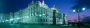 The Royal Palace at night in Madrid, Spain.