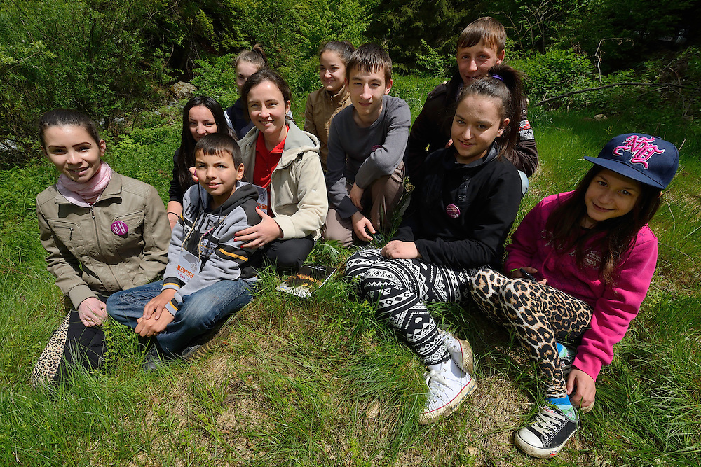 The recently created  Junior Bison Rangers club,  at the release of European bison, Bison bonasus, in the Tarcu mountains nature reserve, Natura 2000 area, Southern Carpathians, Romania. The release was actioned by Rewilding Europe and WWF Romania in May 2014.