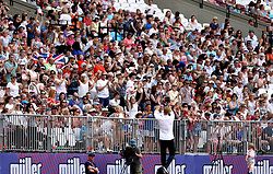 Great Britain's Greg Rutherford applauds the crowd during day two of the Muller Anniversary Games at The Queen Elizabeth Stadium, London.