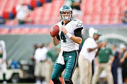 Philadelphia Eagles quarterback Kevin Kolb #4 warms up before the NFL game between the Philadelphia Eagles and the New York Jets on September 3rd 2009. The Jets won 38-27 at Giants Stadium in East Rutherford, NJ.  (Photo By Brian Garfinkel)