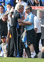 Photo: Mark Stephenson.<br /> Birmingham City v Southampton. Coca Cola Championship. 14/04/2007.Steve Bruce (L) shakes hands with Southampton manager George Burley after the game