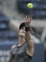 August 30, 2017 - Flushing Meadows, New York, U.S - Eugenie Bouchard during her match on Day Three of the 2017 US Open with Evgeniya Rodina at the USTA Billie Jean King National Tennis Center on Wednesday August 30, 2017 in the Flushing neighborhood of the Queens borough of New York City. Rodina defeated Bouchard, 7-6(7-2), 6-1. (Credit Image: © Prensa Internacional via ZUMA Wire)