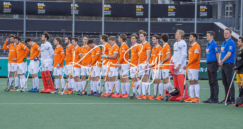 AMSTELVEEN -  Line up Bloemendaal voor de Euro Hockey League finale mannen, Atletic Terrassa (Sp) - HC Bloemendaal (2-5). COPYRIGHT KOEN SUYK