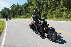 Licenced Harley-Davidson artist Scott Jacobs riding his 1926 Harley-Davidson JD during Stage 5 of the Motorcycle Cannonball Cross-Country Endurance Run, which on this day ran from Clarksville, TN to Cape Girardeau, MO., USA. Tuesday, September 9, 2014.  Photography ©2014 Michael Lichter.