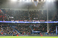 Manchester United fans section in stand during the Champions League Round of 16 2nd leg match between Paris Saint-Germain and Manchester United at Parc des Princes, Paris, France on 6 March 2019.