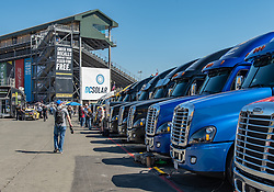 June 22, 2018 - Sonoma, CA, U.S. - SONOMA, CA - JUNE 22:  A view of the inspection staging area with crew truck lined up on Friday, June 22, 2018 at the Toyota/Save Mart 350 Practice day at Sonoma Raceway, Sonoma, CA (Photo by Douglas Stringer/Icon Sportswire) (Credit Image: © Douglas Stringer/Icon SMI via ZUMA Press)
