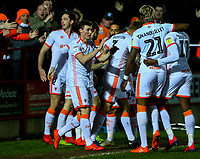 Blackpool's Matty Virtue celebrates scoring his side's first goal with teammates<br /> <br /> Photographer Alex Dodd/CameraSport<br /> <br /> The EFL Sky Bet League One -  Accrington Stanley v Blackpool - Tuesday 5th March 2019 - Crown Ground - Accrington<br /> <br /> World Copyright © 2019 CameraSport. All rights reserved. 43 Linden Ave. Countesthorpe. Leicester. England. LE8 5PG - Tel: +44 (0) 116 277 4147 - admin@camerasport.com - www.camerasport.com