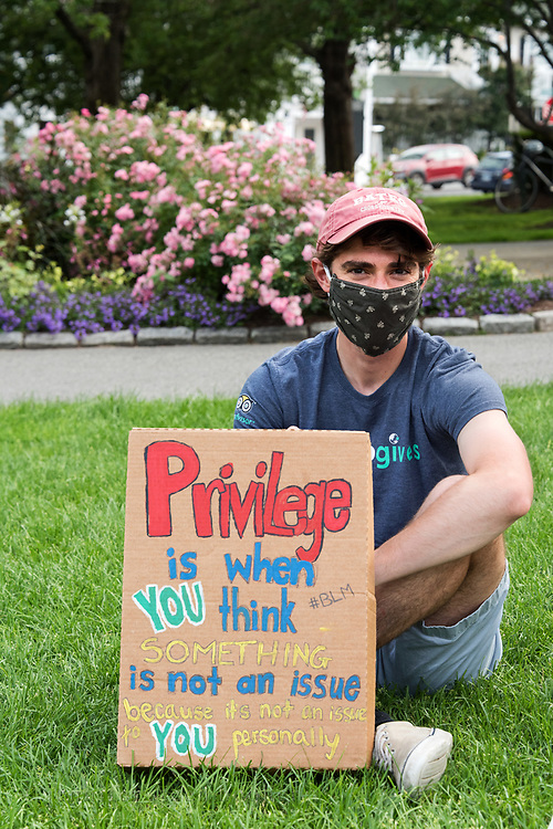 Bar Harbor, Maine. July 19, 2020. Protesters at the MDI Racial Justice Coalition rally.