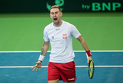Mateusz Kowalczyk of Poland reacts during the Day 2 of Davis Cup 2018 Europe/Africa zone Group II between Slovenia and Poland, on February 4, 2018 in Arena Lukna, Maribor, Slovenia. Photo by Vid Ponikvar / Sportida