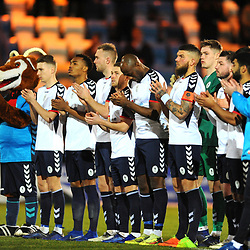 TELFORD COPYRIGHT MIKE SHERIDAN 12/2/2019 - Telford players join a minutes applause for former manager Gordon Banks before the Vanarama Conference North fixture between AFC Telford United and Guiseley at the New Bucks Head.