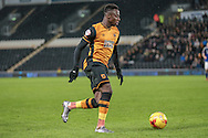 Moses Odubajo (Hull City) during the Sky Bet Championship match between Hull City and Cardiff City at the KC Stadium, Kingston upon Hull, England on 13 January 2016. Photo by Mark P Doherty.