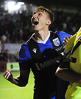 Football - 2021 / 2022 EFL Carabao Cup - Round One - Crawley Town vs Gillingham - The People's Pension Stadium - Tuesday, 10th August 2021<br /> <br /> Harvey Lintott of Gillingham celebrates scoring the winning goal in the penalty shoot out <br /> <br /> Credit : COLORSPORT/Andrew Cowie