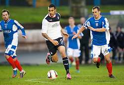 Cowdenbeath's Jamie Stevenson, Falkirk's Phil Roberts and Cowdenbeath's James Fowler.<br /> Cowdenbeath 0 v 2 Falkirk, Scottish Championship game today at Central Park, the home ground of Cowdenbeath Football Club.<br /> © Michael Schofield.