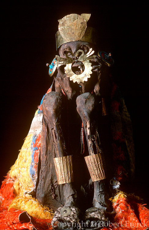 PERU, PRECOLUMBIAN GOLD Nazca; mummy, gold ornaments