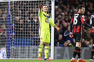 Goalkeeper Artur Boruc of Bournemouth talking to this players before a corner is taken. Barclays Premier league match, Chelsea v AFC Bournemouth at Stamford Bridge in London on Saturday 5th December 2015.<br /> pic by John Patrick Fletcher, Andrew Orchard sports photography.
