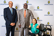 Chancellor Harold L. Martin Sr. and a VIP guest with master communicator, multidimensional businessman and international thought leader T.D. Jakes at North Carolina Agricultural and Technical State University's spring Chancellor's Speaker Series on Thursday, April 11, 2019.<br /> <br /> (Chris English/Tigermoth Creative)