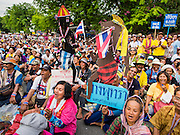 16 MAY 2014 - BANGKOK, THAILAND: Thousands of protestors from the People's Democratic Reform Committee (PDRC) surrounded the Thai Parliament complex Saturday to pressure the Thai Senate to select an interim Prime Minister to replace ousted former PM Yingluck Shinawatra. The Senate decided not to appoint an interim PM of their own and announced a meeting with the current interim Prime Minister. The protestors left the parliament complex and threatened to return in larger numbers if the Senate doesn't act. The Senate appointment of an acting PM could plunge Thailand into chaos since there is already an interim Prime Minister from the ruling Pheu Thai party.     PHOTO BY JACK KURTZ