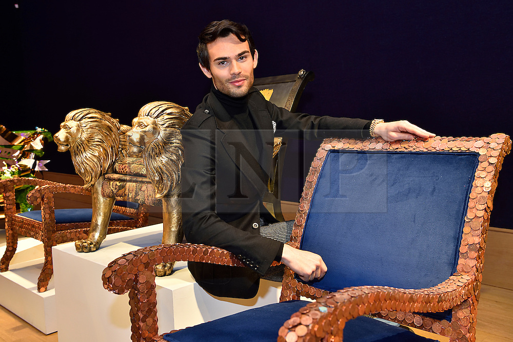 © Licensed to London News Pictures. 29/02/2016. MADE IN CHELSEA star MARK FRANCIS VANDELLI attends the Bonham's Chair Auction for Chiva African Aids Charity.  Mark fractured his ankle after an injury on the Channel 4 series The Jump. . London, UK. Photo credit: Ray Tang/LNP