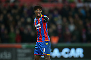 Wilfried Zaha of Crystal Palace looks on. Premier league match, Swansea city v Crystal Palace at the Liberty Stadium in Swansea, South Wales on Saturday 23rd December 2017.<br /> pic by  Andrew Orchard, Andrew Orchard sports photography.