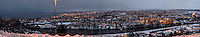 Early Morning Winter Panorama of Trondheim Norway. Composite of 10 vertical images taken with a Nikon D2xs and 50 mm f/1.4D lens (ISO 400, 50 mm, f/1.4, 1/60 sec). Images processed with DxO and AutoPano Giga.