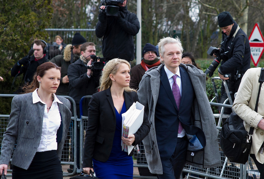 Julian Assange arrives at Willich Croun Court, in London, where he is to appear for extradition hearing after being granted bail at December 14, 2010