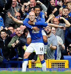Everton's Steven Naismith celebrates with Aaron Lennon after scoring his hat-trick goal for 3-1  - Mandatory byline: Matt McNulty/JMP - 07966386802 - 12/09/2015 - FOOTBALL - Goodison Park -Everton,England - Everton v Chelsea - Barclays Premier League