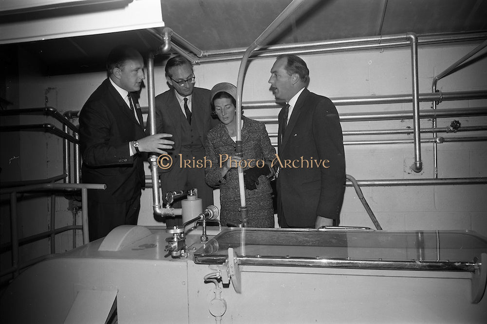 10/10/1966<br /> 10/10/1966<br /> 10 October 1966<br /> Opening of new Roma Foods Products Ltd. factory at Finglas, Dublin. Picture shows  touring the factory (l-r): Mr. Patrick Meade, Managing Director; Baron Vittoro Guicciardi, Italian Ambassador; Mrs. Mary Colley andMr. George Colley T.D., Minister for Industry and Commerce, viewing some of the modern machinery in the factory.