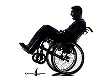 one fearless handicapped man in silhouette studio on white background