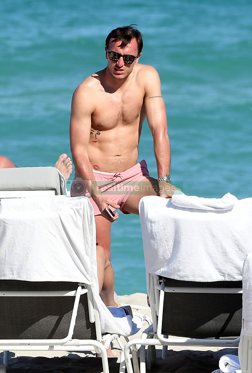 West Ham United players enjoy some time at the pool and on the beach at Fontainebleau Hotel in Miami Beach, Florida. 13 Mar 2018 Pictured: Mark Noble. Photo credit: MEGA TheMegaAgency.com +1 888 505 6342