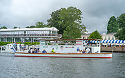 """Henley-On-Thames, Berkshire, UK.,Thursday, 12.08.21,  Henley Umpires Launch, """"Boadiciea"""",  steering for the gap in the booms by the progress board, 2021 Henley Royal Regatta,  [ Mandatory Credit © Peter Spurrier/Intersport Images],"""