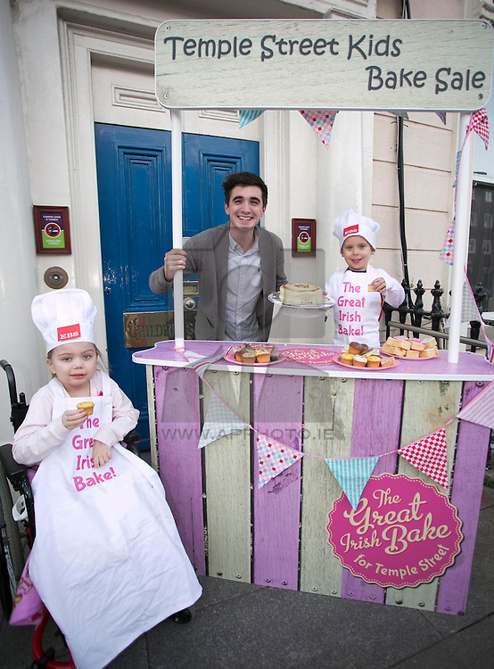 Repro Free: 20/02/2013 Temple Street patient Amber O'Rourke, Age 6 from Carlow is pictured with kitchen hero and home cook Donal Skehan and Dylan Doyle, age 4 from Ballymun, Dublin. The children are helping to launch the Great Irish Bake, proudly supported by EBS. This important fundraising driving is calling all baking enthusiasts across the nation to dust off their cake tins and hold a bake sale at home, in school or at work and help raise funds for Temple Street. Picture Andres Poveda