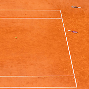PARIS, FRANCE October 11. The racquets and match ball of Tímea Babos of Hungary and Kristina Mladenovic of France after they had left them on court after celebrating their victory against Alexa Guarachi of Chile and Desirae Krawczyk of the United States in the Women's Doubles Final on Court Philippe-Chatrier during the French Open Tennis Tournament at Roland Garros on October 11th 2020 in Paris, France. (Photo by Tim Clayton/Corbis via Getty Images)