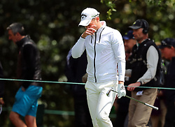 Defending Masters champion Danny Willett reacts as he gets back on the 1st fairway as play begins in the opening round of the 81st Masters tournament at the Augusta National Golf Club on Thursday, April 6, 2017, in Augusta, Ga. (Photo by Curtis Compton/Atlanta Journal-Constitution/TNS)  *** Please Use Credit from Credit Field ***