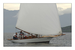 Seabird, a recently built Gaff Cutter from France. on the first days racing...This the largest gathering of classic yachts designed by William Fife returned to their birth place on the Clyde to participate in the 2nd Fife Regatta. 22 Yachts from around the world participated in the event which honoured the skills of Yacht Designer Wm Fife, and his yard in Fairlie, Scotland...FAO Picture Desk..Marc Turner / PFM Pictures