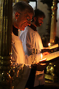 Israel, Jerusalem, Old City, Interior of the Church of the Holy Sepulchre Catholic ceremony