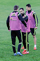 Spanish National Team's  training at Ciudad del Futbol stadium in Las Rozas, Madrid, Spain. In the pic: Pique, Juanfran and Miguel Jimenez. March 25, 2015. (ALTERPHOTOS/Luis Fernandez)