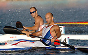 20040828 Olympic Games Athens Greece .[Canoe/Kakak Flatwater Racing] .Lake Schinias - Saturday Finals day.GBR Men's K1 Bronze medal winner Ian Wynne, looks across the line towards the electronic score board to find his finishing position...Photo  Peter Spurrier.email images@intersport-images.com...