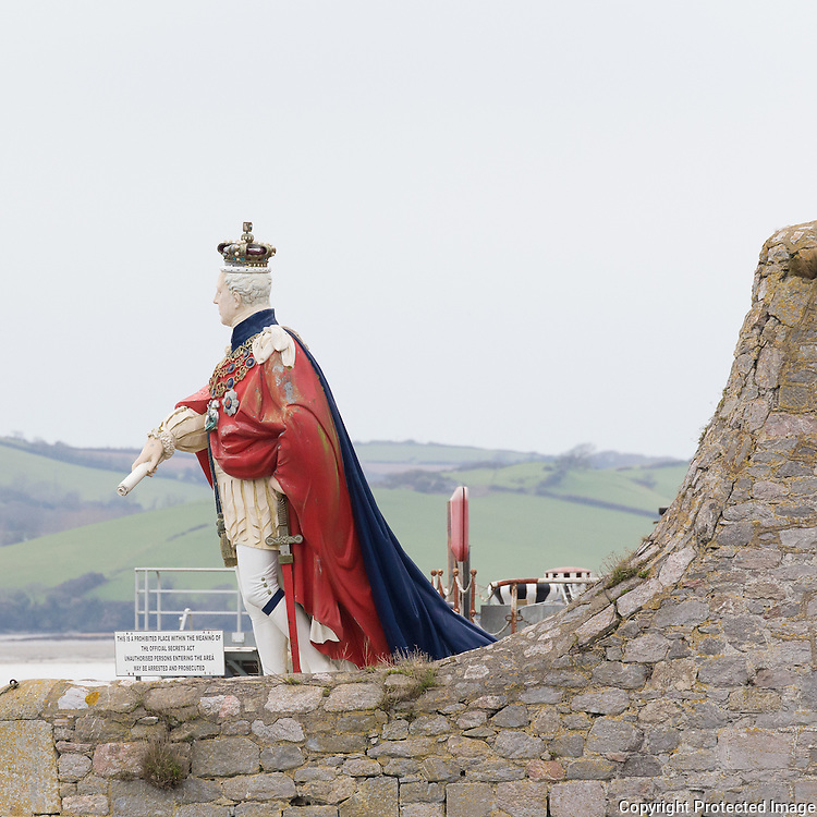 King Billy's Statue at Mutton Cove. Fibreglass reproduction of a figurehead of William IV marking the entrance of Devonport Naval Base, Plymouth, Devon.
