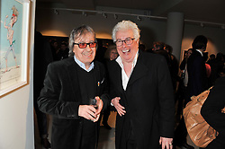 Left to right, BILL WYMAN and KEN FOLLETT at a private view of Bill Wyman - Reworked held at the Rook & Raven Gallery, 7 Rathbone Place, London W1 on 26th February 2013.