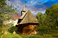 Orthodox Wood Church of St Archangheli ( Biserica de lemn ) , Maramures, Northern Transylvania, Romania. .<br /> <br /> Visit our ROMANIA HISTORIC PLACXES PHOTO COLLECTIONS for more photos to download or buy as wall art prints https://funkystock.photoshelter.com/gallery-collection/Pictures-Images-of-Romania-Photos-of-Romanian-Historic-Landmark-Sites/C00001TITiQwAdS8<br /> .<br /> Visit our MEDIEVAL PHOTO COLLECTIONS for more   photos  to download or buy as prints https://funkystock.photoshelter.com/gallery-collection/Medieval-Middle-Ages-Historic-Places-Arcaeological-Sites-Pictures-Images-of/C0000B5ZA54_WD0s
