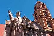 Statue of San Felipe Neri in front of the Oratorio of San Felipe Neri church in the colonial UNESCO heritage city of San Miguel de Allende, Mexico.
