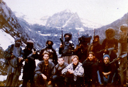 July 1997. Srinagar, Kashmir, India..Collect image. .Western Hostages held by militant group Al Faranm. L/R front row; Keith Mangan (British), Dirk Hasert (German), Hans Christian Ostro (Norway - found beheaded), Paul Wells (Britain) and Donald Hutchings (USA). Photo taken in July 1995 after kidnapping from Aru, a border town in Indian controlled Kashmir close to the Pakistani border..Photo; Collect through intermediaries.