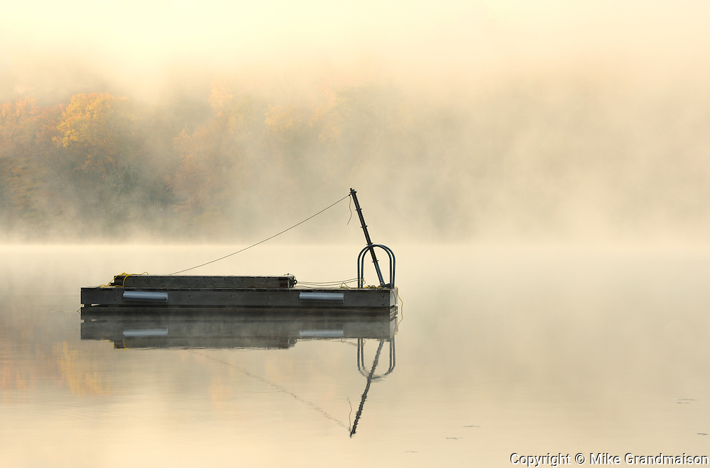 Dock in fog on Horseshoe Lake<br /> Horseshoe Lake<br /> Ontario<br /> Canada