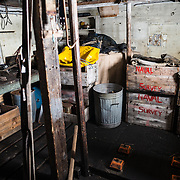 A storage area in the workshop at Wordie House. Originally known as Base F and later renamed after James Wordie, chief scientist on Ernest Shackleton's major Antarctic expedition, Wordie House dates to the mid-1940s. It was one of a handful of bases built by the British as part of a secret World War II mission codenamed Operation Tabarin. The house is preserved intact and stands near Vernadsky Research Base in the Argentine Islands in Antarctica.