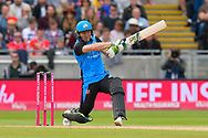 Ben Cox of Worcestershire hits the ball to the boundary for four runs during the Vitality T20 Finals Day Semi Final 2018 match between Worcestershire Rapids and Lancashire Lightning at Edgbaston, Birmingham, United Kingdom on 15 September 2018.