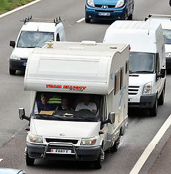 © Licensed to London News Pictures. 21/07/2017<br /> Happy children off on holiday in Dads camper.<br /> Traffic QUEUE HELL on the M25 all afternoon.SOME DRIVERS TRYING TO GET OFF AT J3.<br /> THE BACK OF THE QUEUING TRAFFIC Anti-clock wise at Junction 3 for Swanley Kent.<br />  Traffic is at a near standstill as the summer holiday getaway madness begins as the schools break up for the summer.<br /> Photo credit: Grant Falvey/LNP