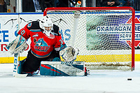 KELOWNA, BC - MARCH 11: Roman Basran #30 of the Kelowna Rockets makes a second period save against the Victoria Royals at Prospera Place on March 11, 2020 in Kelowna, Canada. (Photo by Marissa Baecker/Shoot the Breeze)