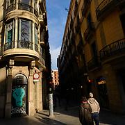 Barcelona, Spain - February 18, 2018 - Tourists near La Rambla and Carrer de la Canuda in Barcelona, Spain. <br /> <br /> Image: © Rod Mountain<br /> <br /> http://www.rodmountain.com<br /> <br /> Nikon D800 / Nikkor Lens<br /> @nikoncanada #NikonCA<br /> @NikonUSA #NikonNoFilter<br /> @nikoneurope #NikonEurope<br /> <br /> https://en.wikipedia.org/wiki/La_Rambla%2C_Barcelona<br /> https://www.barcelona.cat/en/<br /> https://en.wikipedia.org/wiki/Barcelona<br /> https://www.spain.info/en/que-quieres/ciudades-pueblos/grandes-ciudades/barcelona.html<br /> https://www.spain.info/en/<br /> <br /> #barcelona #VisitSpain #suitcasetravels #letsgosomewhere #stayandwander #moodygrams #passionpassport #Somewheretravels #friendsinperson #beUrban #one_shot_ #burnmyeye #myfeatureshoot #bnw_captures #bnw_life #bnwmood #bnw_planet #instalike #bwmasters #blackandwhiteisworththefight #pixelection #streetleaks #wearethestreet #friendsinperson #ourstreets #streetdreamsmag #storyofthestreet