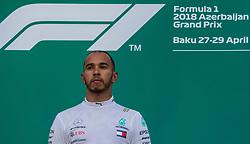 April 29, 2018 - Baku, Azerbaijan - The winner Lewis Hamilton on the podium during the award ceremony at Azerbaijan Formula 1 Grand Prix on Apr 29, 2018 in Baku, Azerbaijan. (Credit Image: © Robert Szaniszlo/NurPhoto via ZUMA Press)