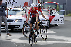 July 4, 2018 - Mouilleron Le Captif, France - MOUILLERON-LE-CAPTIF, FRANCE - JULY 4 : KEUKELEIRE Jens  (BEL)  of Lotto Soudal and VANENDERT Jelle  (BEL)  of Lotto Soudal during a team reconnaissance of stage 1 prior the 105th edition of the 2018 Tour de France cycling race, a stage of 201 kms between Noirmoutier-en-l'Ile and Mouilleron-Le-Captif on July 04, 2018 in Mouilleron-Le-Captif, France, 4/07/18 ( Motordriver Kenny Verfaillie - Photo by Jan De Meuleneir / Photonews. (Credit Image: © Panoramic via ZUMA Press)